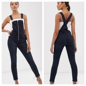 Blank NYC slim leg zip front overalls dark wash